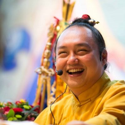Namdrol Rinpoche teaching. Rinpoche is known for his approachable and down-to-earth style.