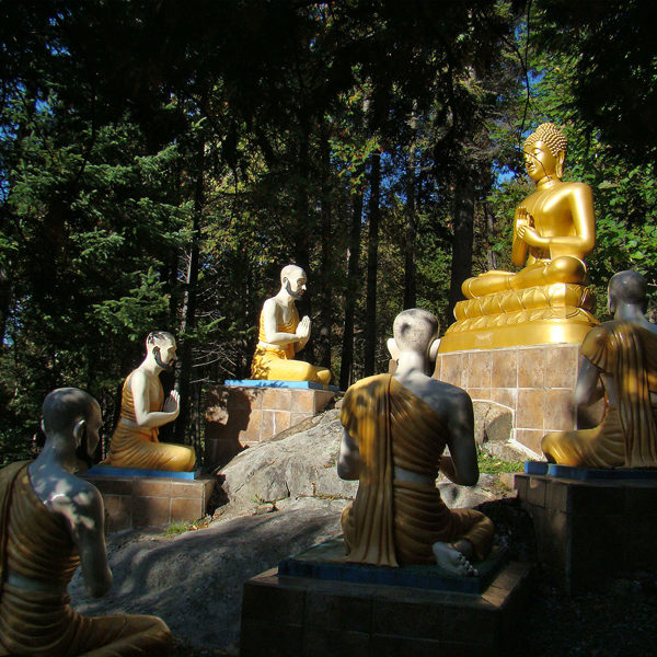 By Tango7174 - Own work, CC BY-SA 4.0. A depiction of the first teaching of the Buddha from a Vietnamese Buddhist monastery in Quebec, Canada. From Wikipedia.