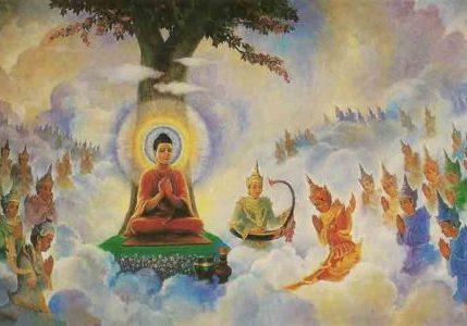 Buddha teaching the devas.