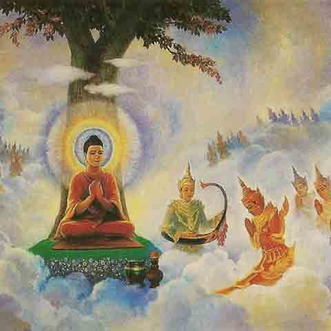 Buddha teaching the devas.